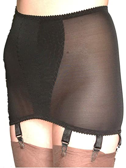 6dcd9f77e61 Premier Lingerie Powermesh 8 Strap See-Thru Shapewear Slip Girdle (PLpg8)   UK   Amazon.co.uk  Clothing
