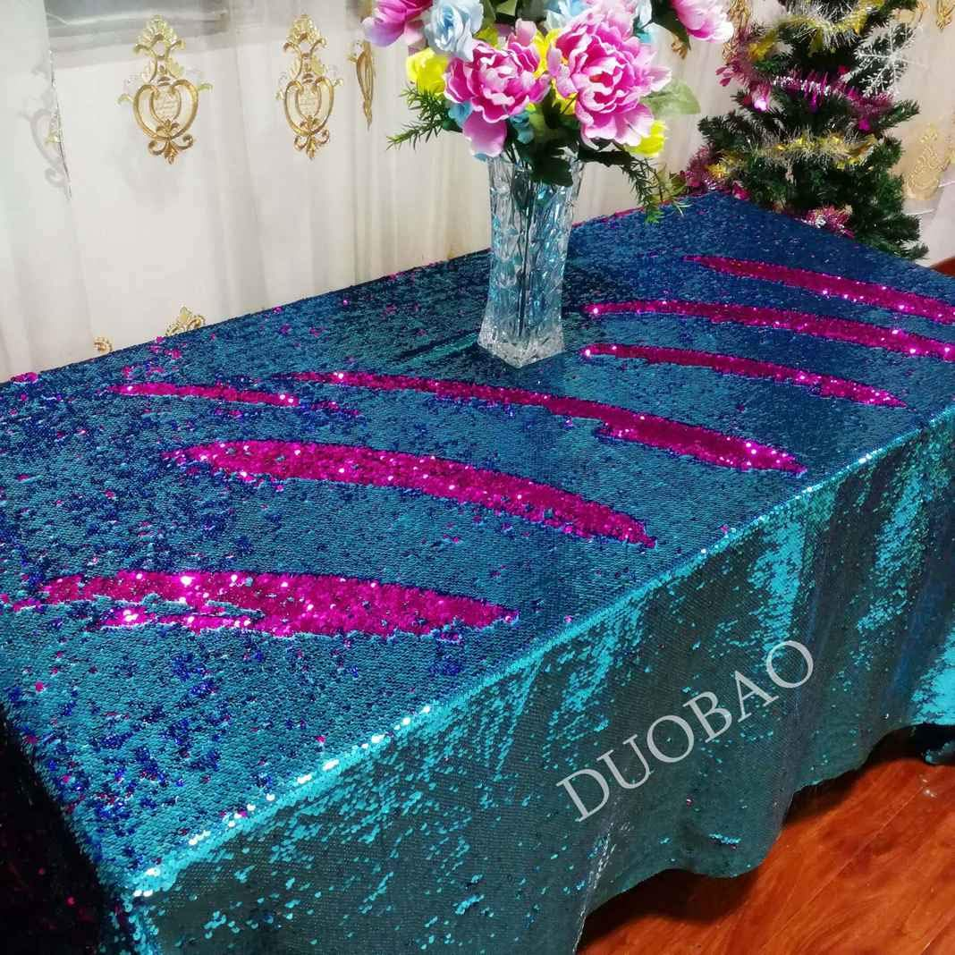 DUOBAO 72x108-InchRectangleSequinTableclothAqua to Fuchsia Mermaid Sequin Table Cover Glitter Table Cloths for Wedding/Party/Kitchen decorations-0612H
