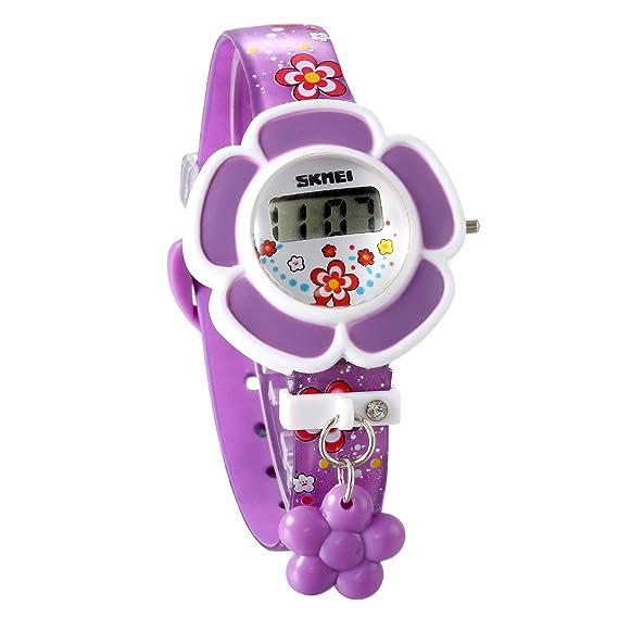 JewelryWe Reloj de Niña Digital Deportivo Reloj Infantil En Forma de Flor Color Violeta Simpatico Regalo para Niñas, Nuevo Modelo 2017: Amazon.es: Relojes