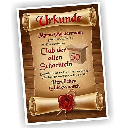 Play Too Geburtstagsurkunde 30 40 50 60 Club Der Alten Schachteln