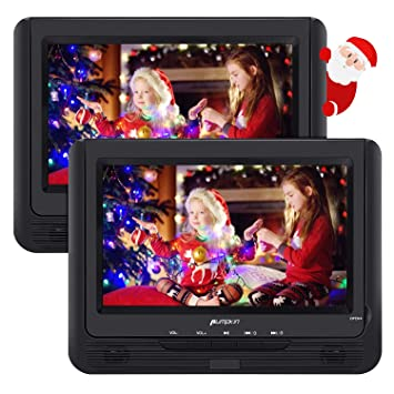 Pumpkin DVD Portatil Coche 2 Pantallas 9 pulgadas Reproductor para Reposacabezas con Cargador de coche, Soporta SD/ USB/ CD Multiregiones, con Control ...