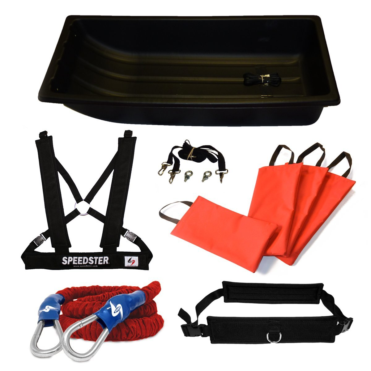 Speedster Torpedo Jet Sled & Resistance Bungee Kit - Includes Padded Harness & Belt, 4 Weight Bags, and All Accessories for Speed Training