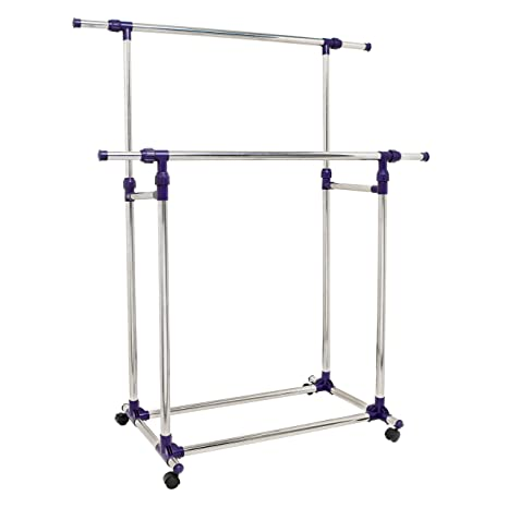 Amazon.com: PREMIERE Series Stainless Steel Adjustable Telescoping Vertical  And Horizontal Bars Double Rails Rolling Clothing And Garment Rack Stand W/  ...