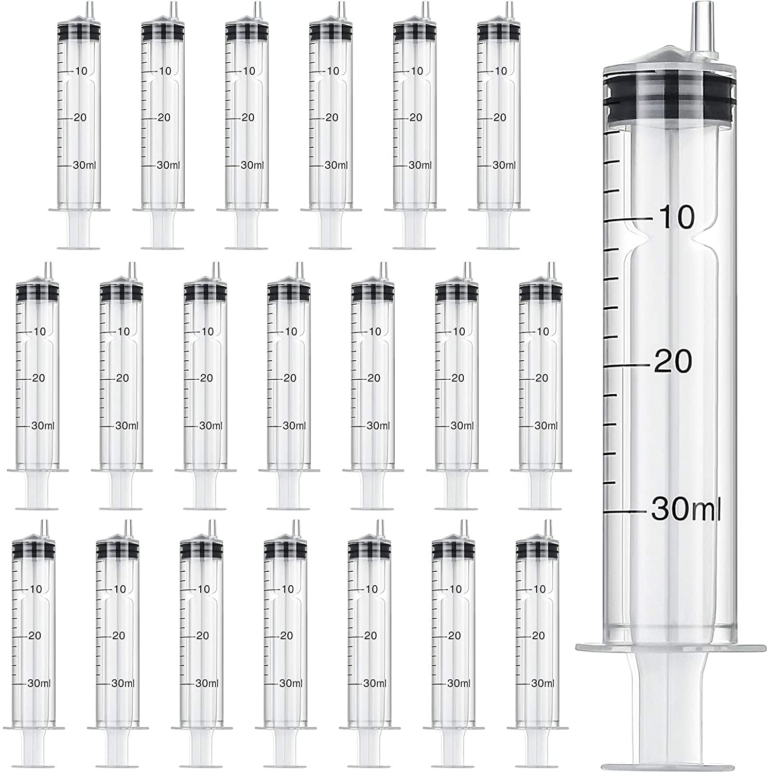 Large Plastic Syringe for Scientific Labs and Dispensing Multiple Uses Measuring Syringe Tools (30 ml, 20)