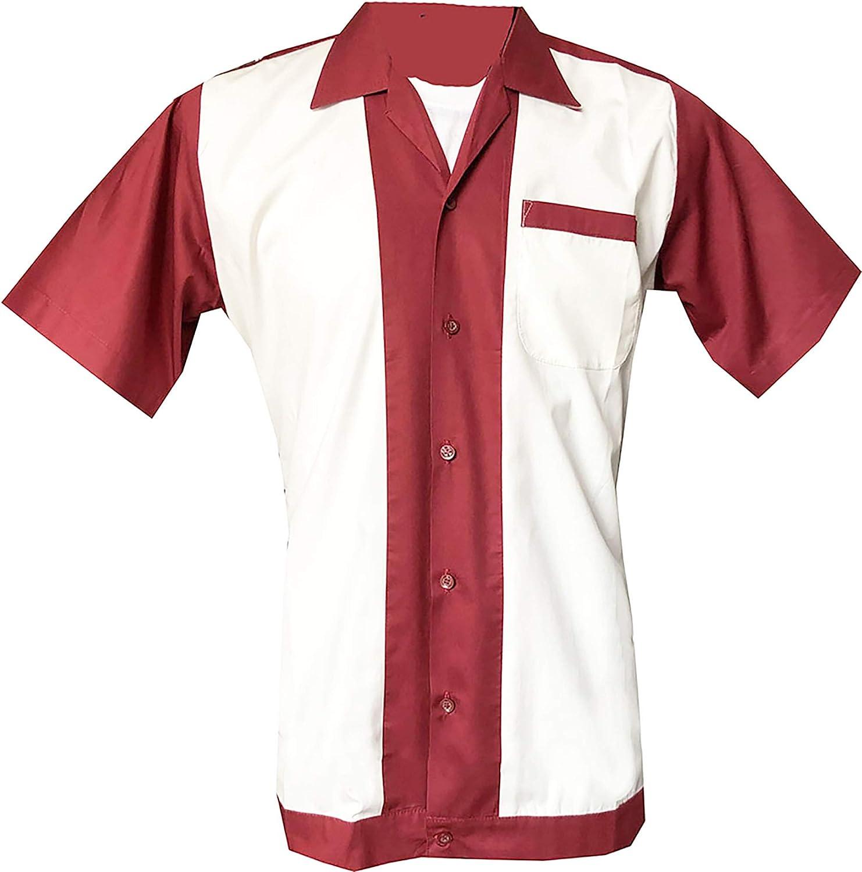1950s/1960s Rockabilly, Bowling, Retro, Vintage Camisa para hombre Red, White L: Amazon.es: Ropa y accesorios