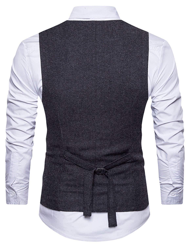 STTLZMC Chalecos de Trabajo Hombre V-Cuello Traje de Boda Negocios Slim Fit Tweed a Cuadros Blazer