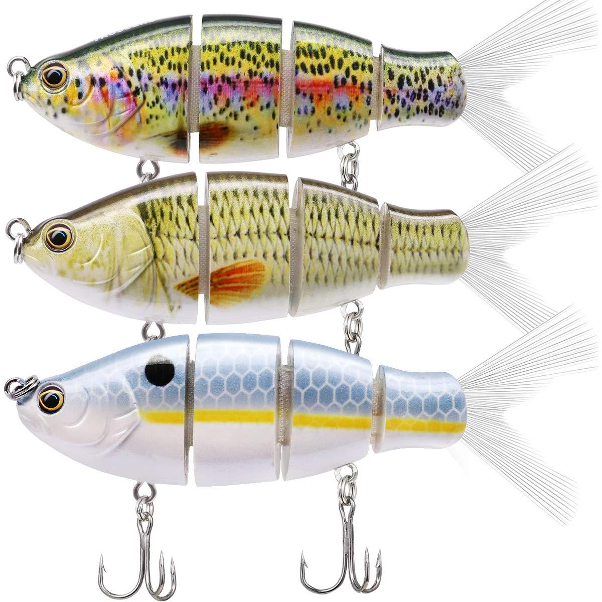 TRUSCEND Fishing Lures Swimbait Bass, 10cm 3.93'' Fishing Lures Crankbait Jointed Trout Swimbait Mustad Hooks (Combo C)