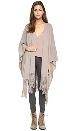 360Sweater Women's 100% Cashmere Open-Front Long Fringe Shawl ...