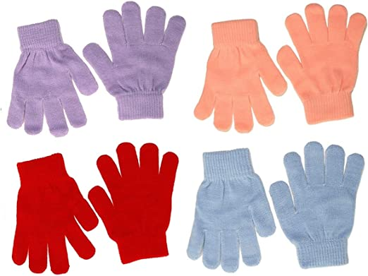 Magic Set of Four Childrens Stretchy Gloves in Light Colours size One Size