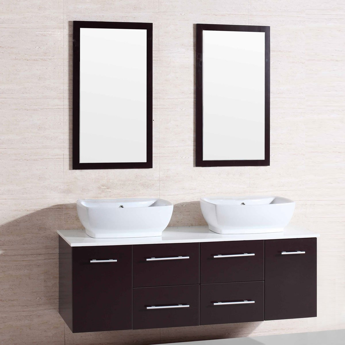 Decoraport 60 In. Wall Mount Bathroom Vanity Set with Double Sinks and Mirrors (A-T9146)