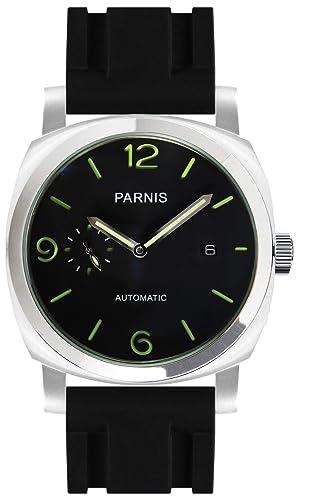 PARNIS 9068 clásica de acero inoxidable automático de reloj 5bar Reloj de pulsera de caucho de 44 mm Cristal Mineral Hombre Al Agua Seagull Marca Reloj de ...