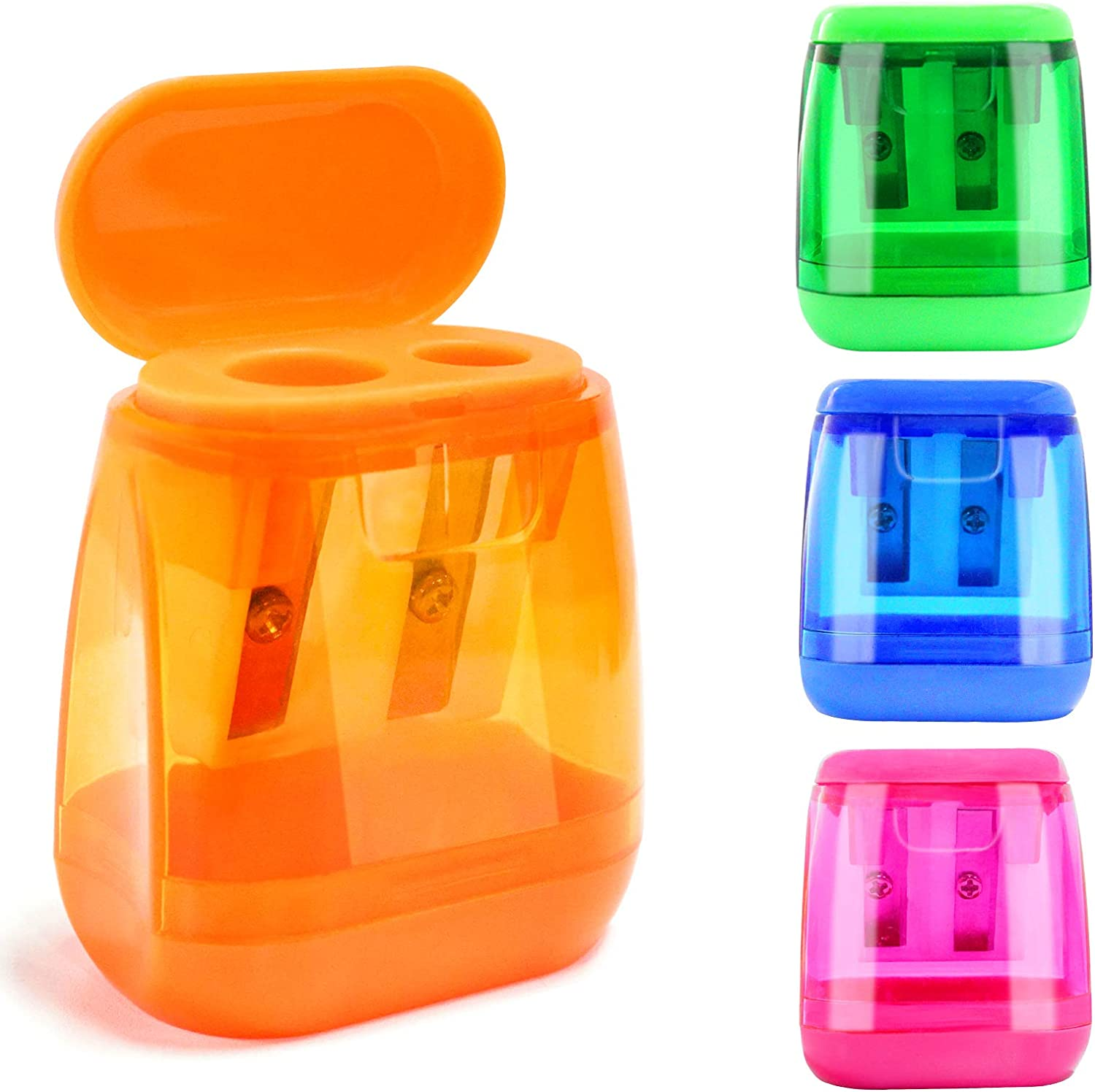 Pencil Sharpener Manual for Kids Double Holes Colored Handheld Pencil Sharpeners with Lid Portable for School Home Class Office 4 Pcs 4 Colors