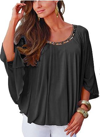 more photos 58732 a276c Versandhausware Läßiges Tunika-Shirt Schwarz mit Nieten und  Fledermausärmeln 927834