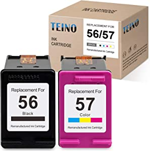 TEINO Remanufactured Ink Cartridges Replacement for HP 56 57 C6656ANC6657AN use with HP DeskJet 5550 5650 5150 5145 5655 Photosmart 7260 7350 7450 7550 7760 PSC 2410 2210 (Black, Tri-Color, 2-Pack)