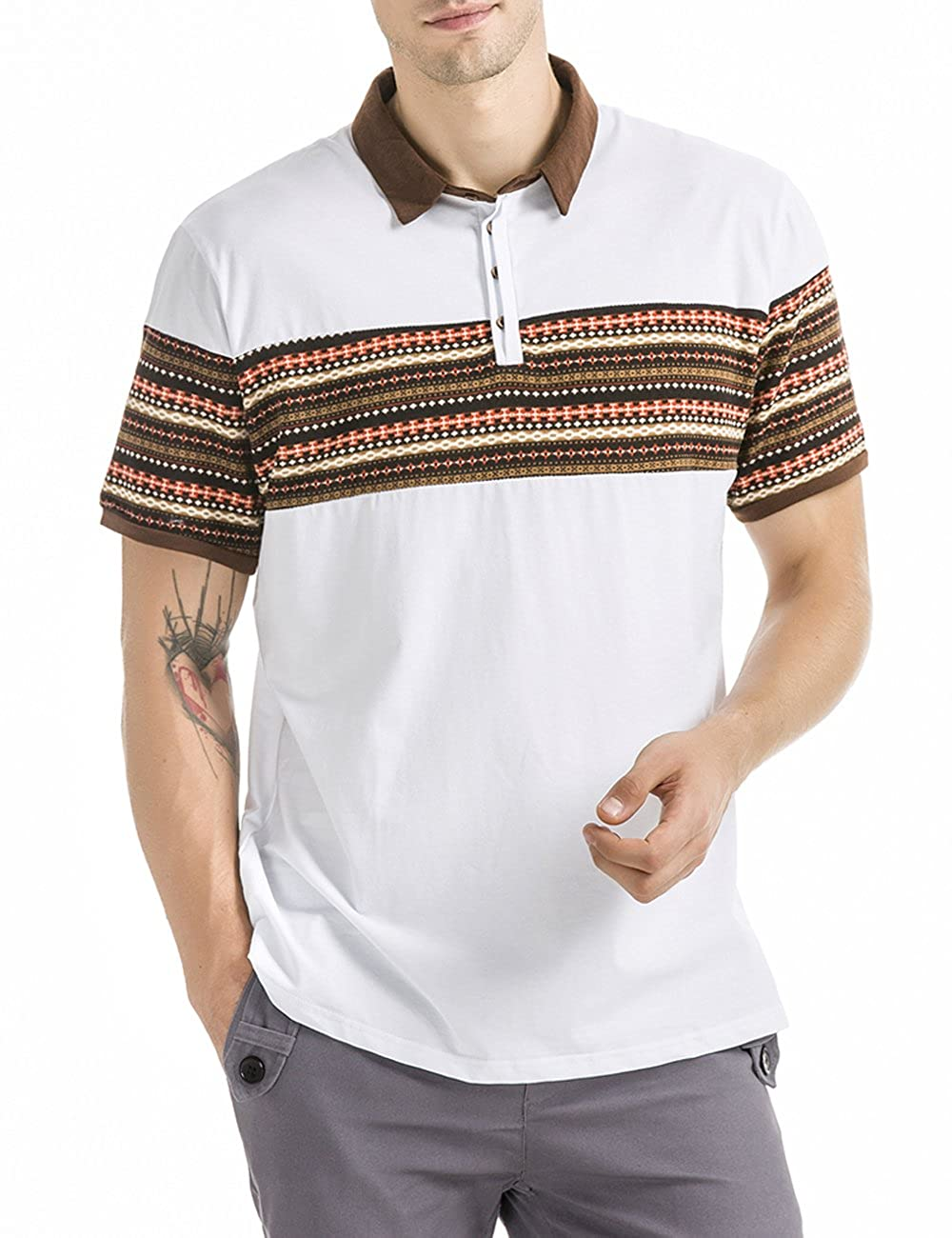 1950s Mens Shirts | Retro Bowling Shirts, Vintage Hawaiian Shirts Mens retro print polo short sleeve t-shirts $13.97 AT vintagedancer.com
