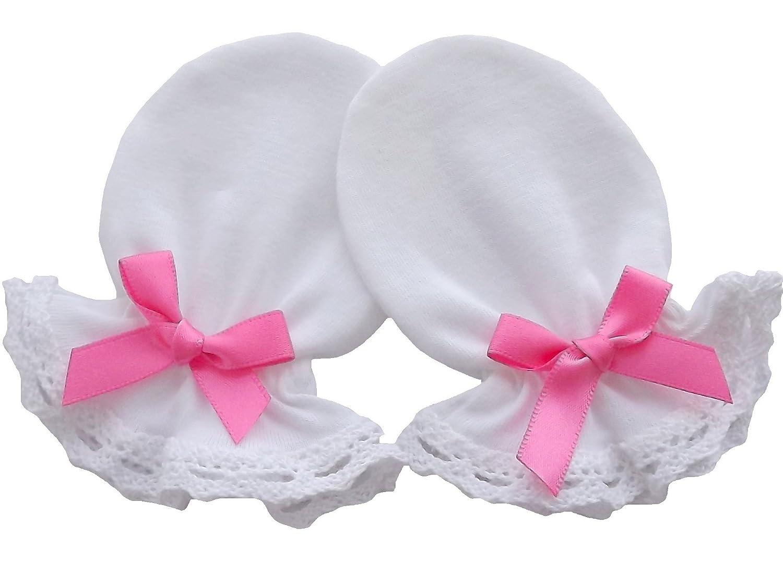 100% Baumwolle Jersey Neugeborene Baby handgefertigt Anti Kratz Fäustlinge Baumwolle Spitze Farbe Weiß weiß Dark Purple Bow 0-3 Monate Individual Company