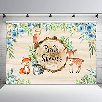 New Woodland Baby Shower for Boy Backdrop 7x5ft Woodland Animal Floral Photo Backdrops Safari Baby Shower Party Banner Decorations Supplies Photography Background