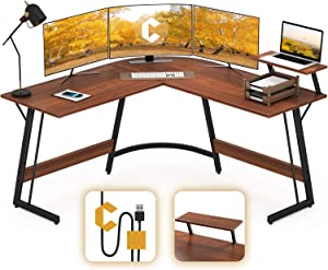 Cubiker Modern L-Shaped Desk Computer Corner Desk, PC Laptop Writing Study Desk for Home Office Wood & Metal, Espresso