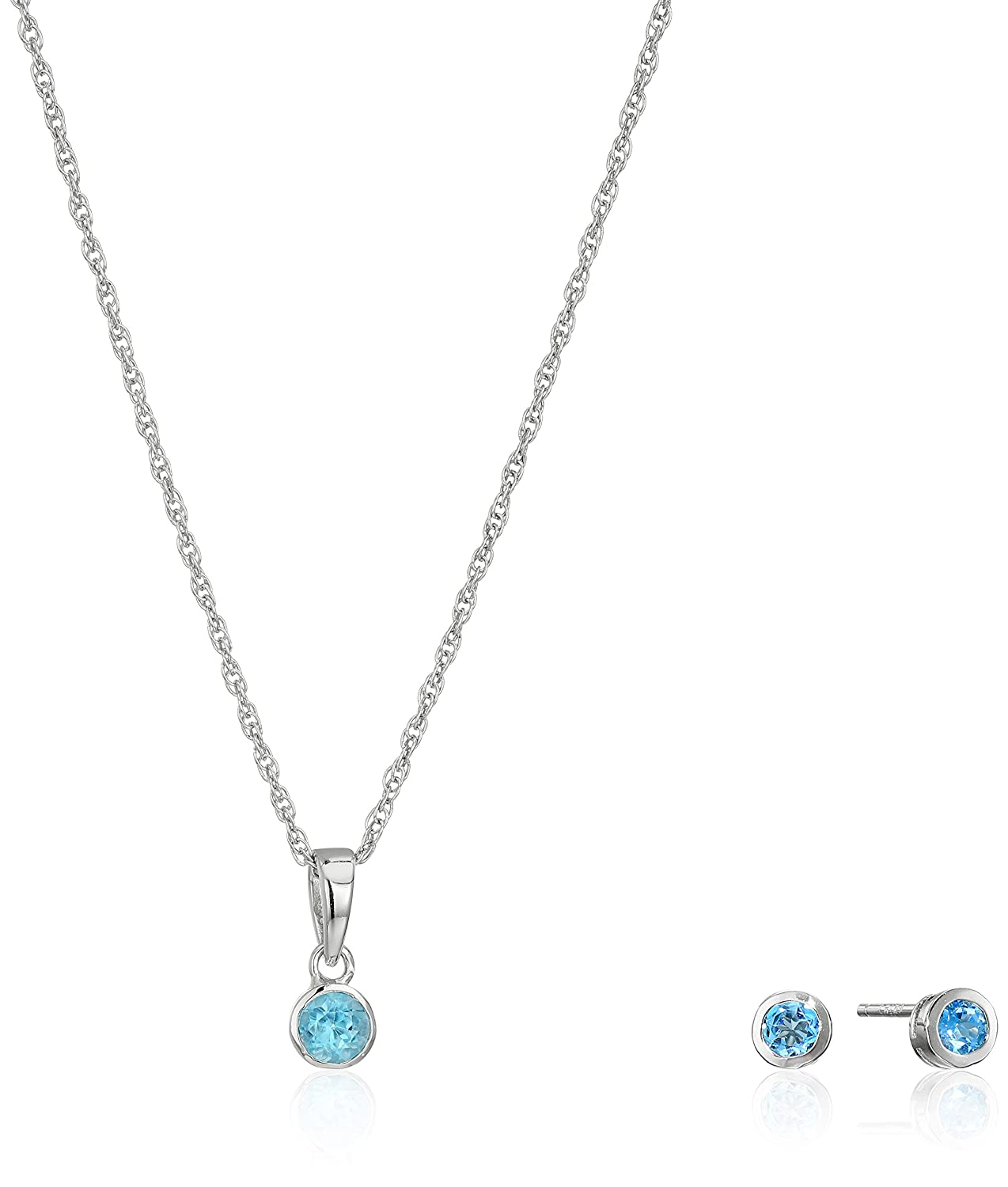 Girls' Lulabelle Children's Rhodium Plated Sterling Silver 3mm Bezel Set Stud Earrings and Pendant Necklace Jewelry Set, 16 16 Amazon Collection R9AA2B120Q