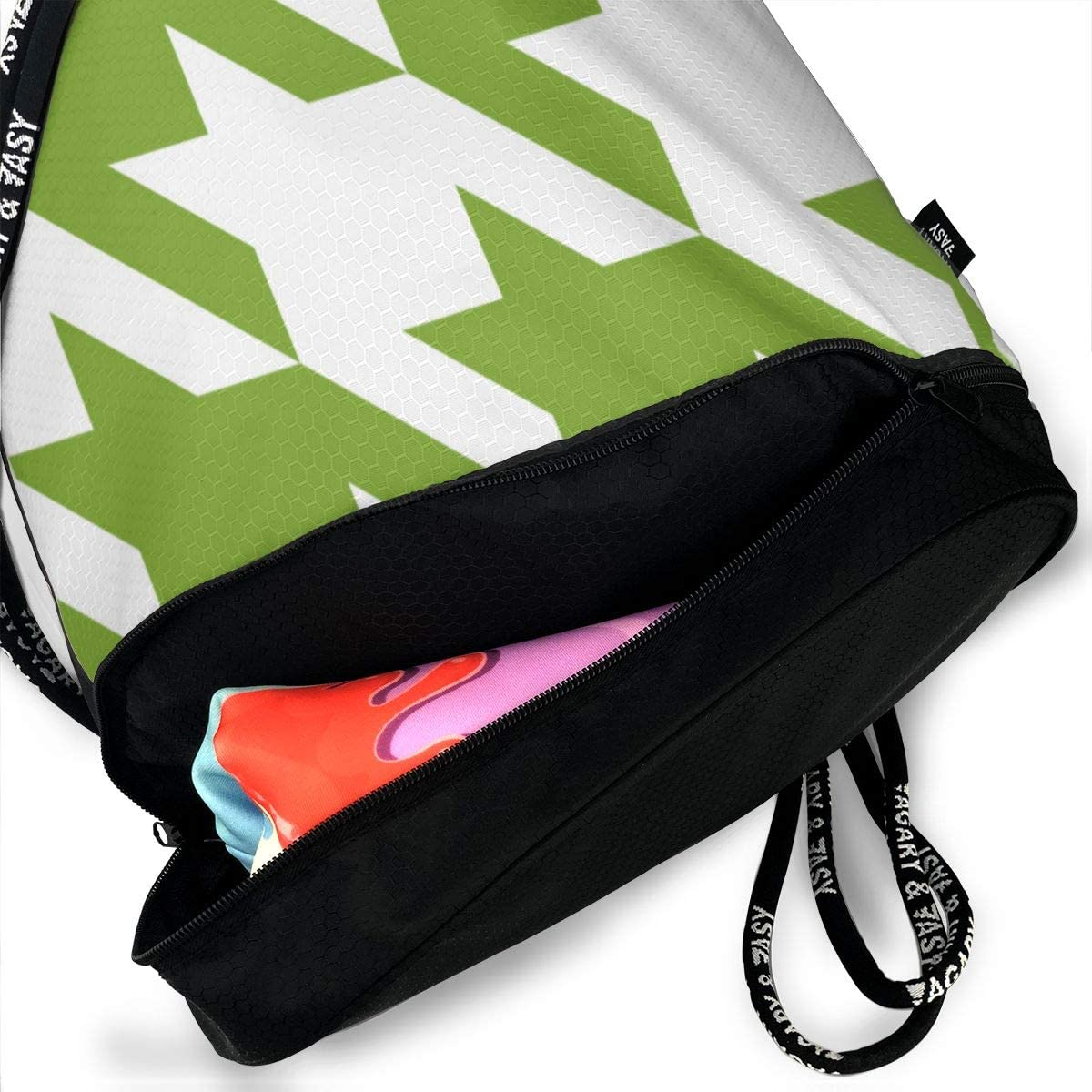 Lime Green Houndstooth Drawstring Backpack Sports Athletic Gym Cinch Sack String Storage Bags for Hiking Travel Beach