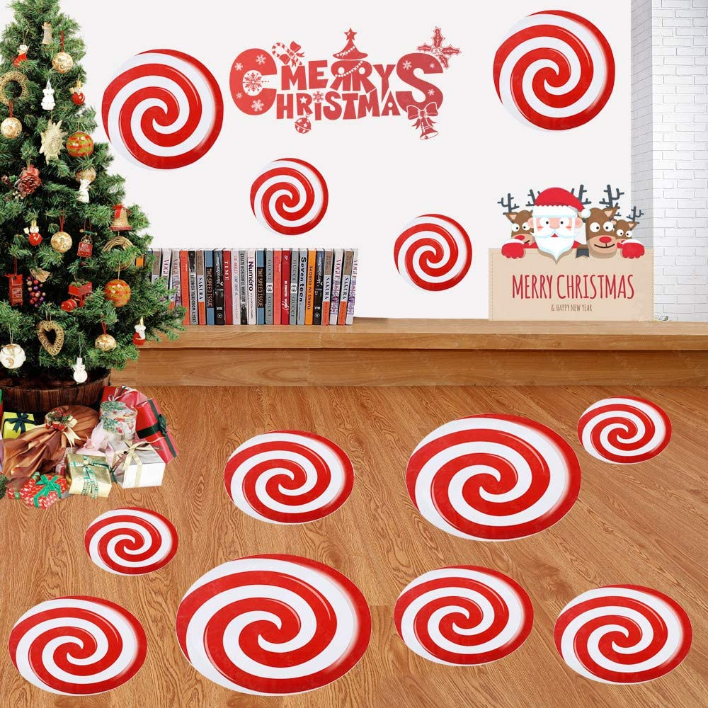 Big Eye Owl 12 Pcs Peppermint Floor Decals Stickers Large for Christmas Wall Candy Party Decoration Supplies
