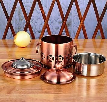 Shabu Shabu Estufa De Alcohol De Acero Inoxidable Buffet Estufa De Picnic En Casa Olla De Alcohol Pequeña Olla,Copper: Amazon.es: Hogar