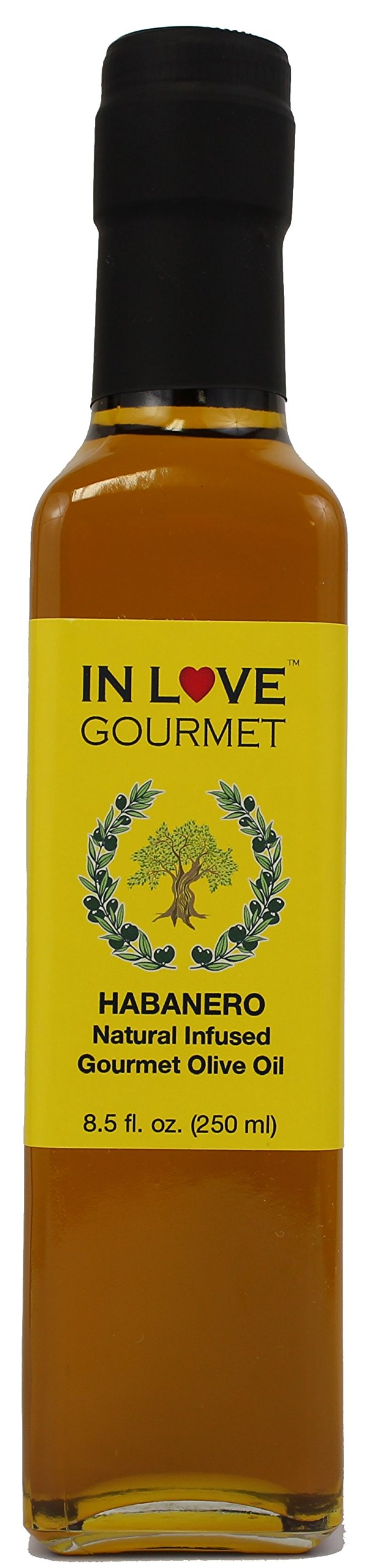 In Love Gourmet Habanero Natural Flavor Infused Olive Oil 250ML/8.5oz Spicy Habanero Oil, Spice up your Fish, Chicken, Veggies, Pastas.