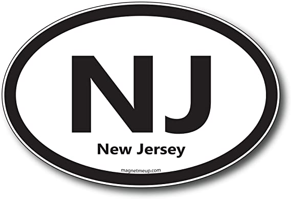 NJ New Jersey Car Magnet US State Oval Refrigerator Locker SUV Heavy Duty Waterproof…