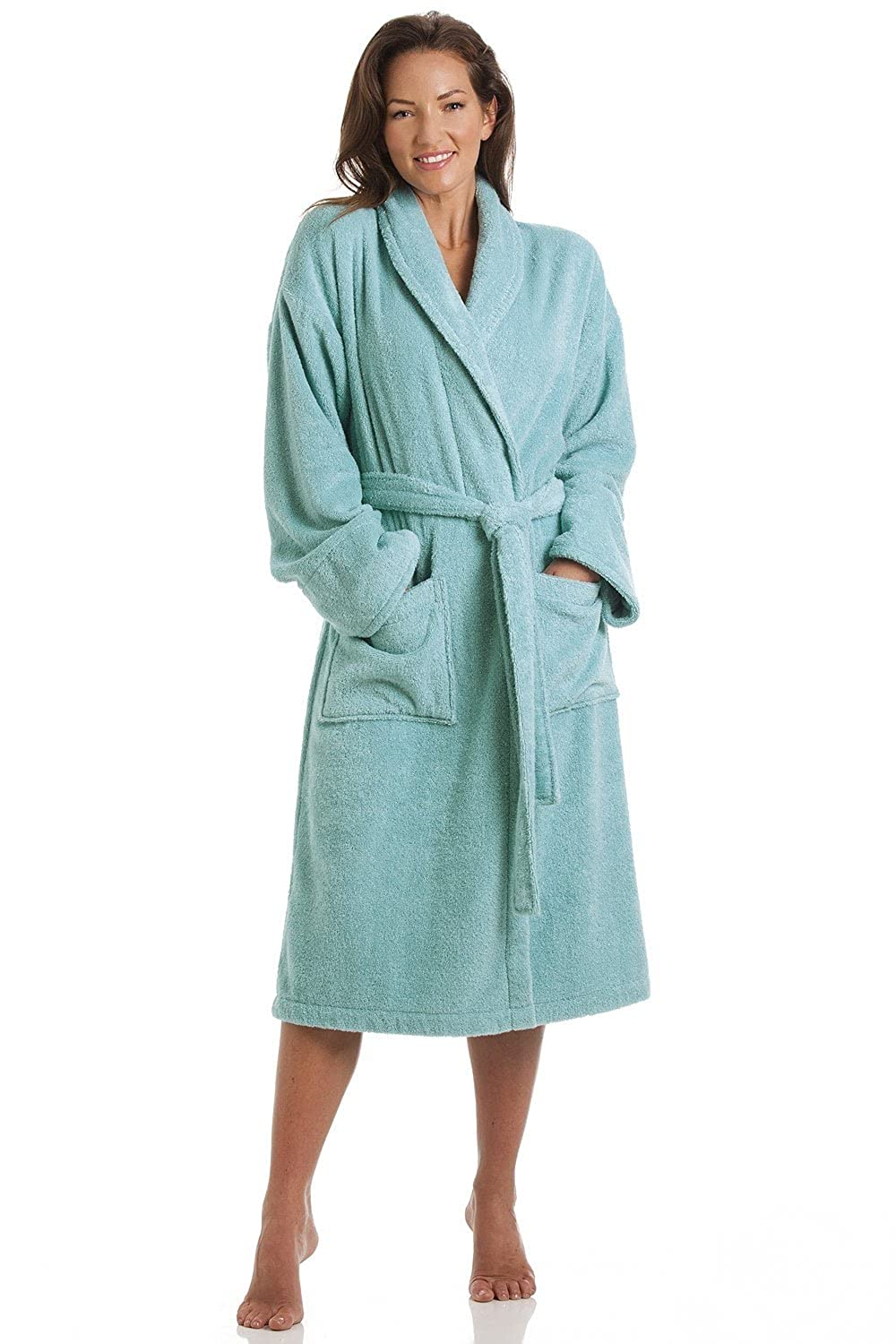 Camille Womens Luxury Aqua Blue 100% Cotton Towelling Bath Robe