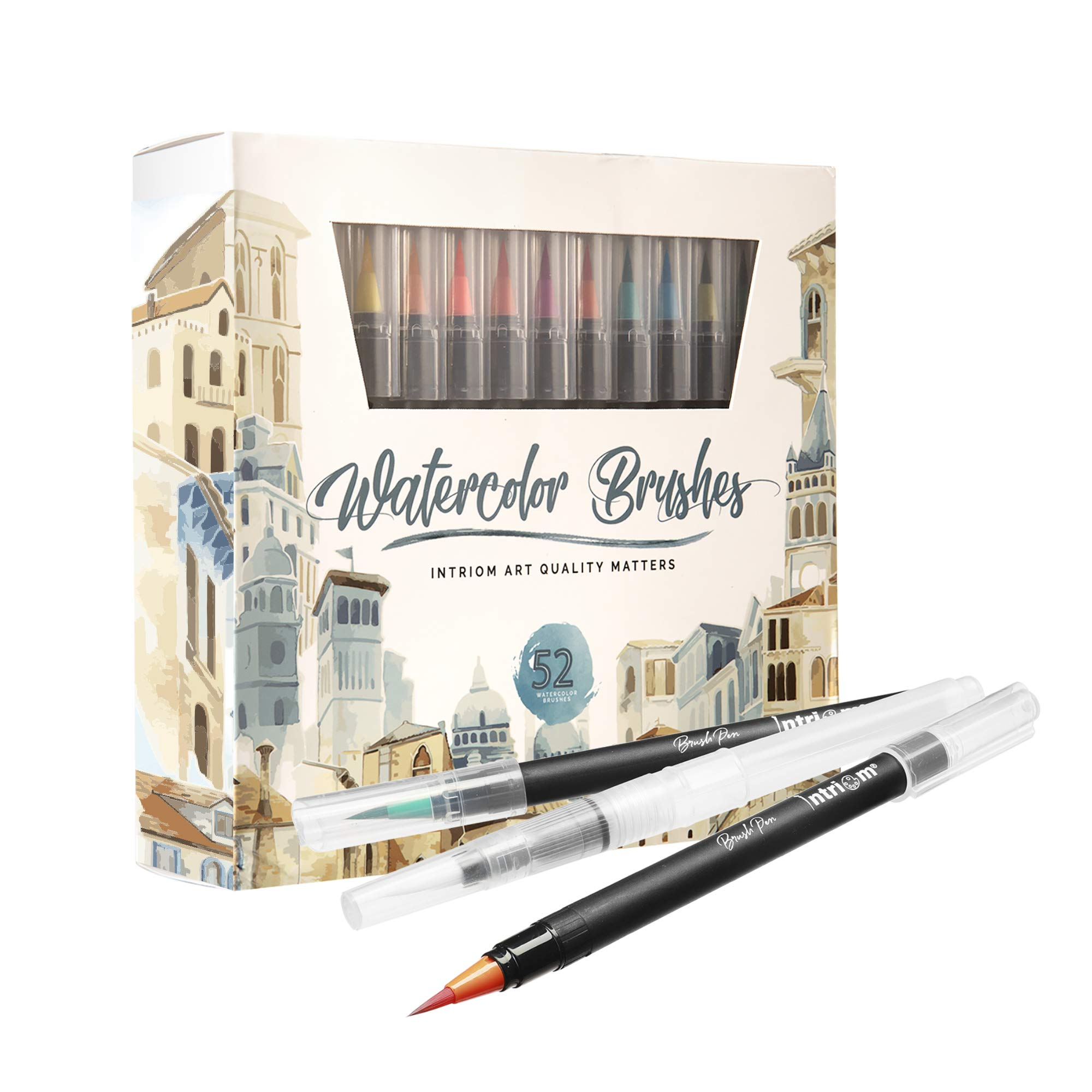 Watercolor Brush Pens Assorted Set | Colored + 3 Watercolor Brush Pens +8 Watercolor Paper | Complete Art Supply Coloring & Inking Markers W/Real Brush Tips & Carrying Case | Nontoxic (52) by Intriom