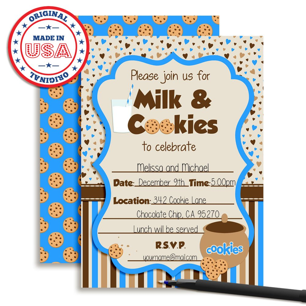 Amazon.com: Milk and Cookies Boy Birthday Party Fill in Invitations ...