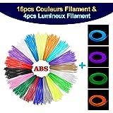 Pathonor 20PCS ABS Fils Filaments consommables d'imprimante de 3D Stylo Dia.1,75mm Matériaux d'impression Pour 3D Dessin (16pcs Neutre + 4pcs Fluo )