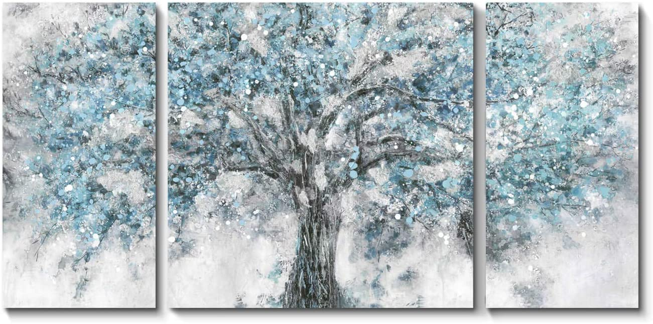 Abstract Tree Canvas Wall Art: Maple Blossom Artwork Picture Painting on Canvas for Living Room (Blue, Overall 48''x24'')