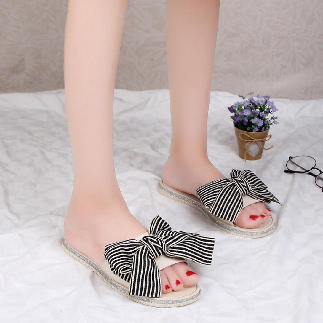 LUCKYCAT Sandales d/ét/é Femme Chaussures de /Ét/é Sandales /à Talons Chaussures Plates Rayures N/œud Papillon Pantoufles Chaussures de Plage 2018
