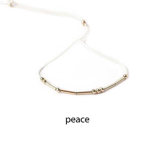 5be4615fad4ea Amazon.com: Peace Morse Code Bracelet 14k Gold Filled Beads Spell ...