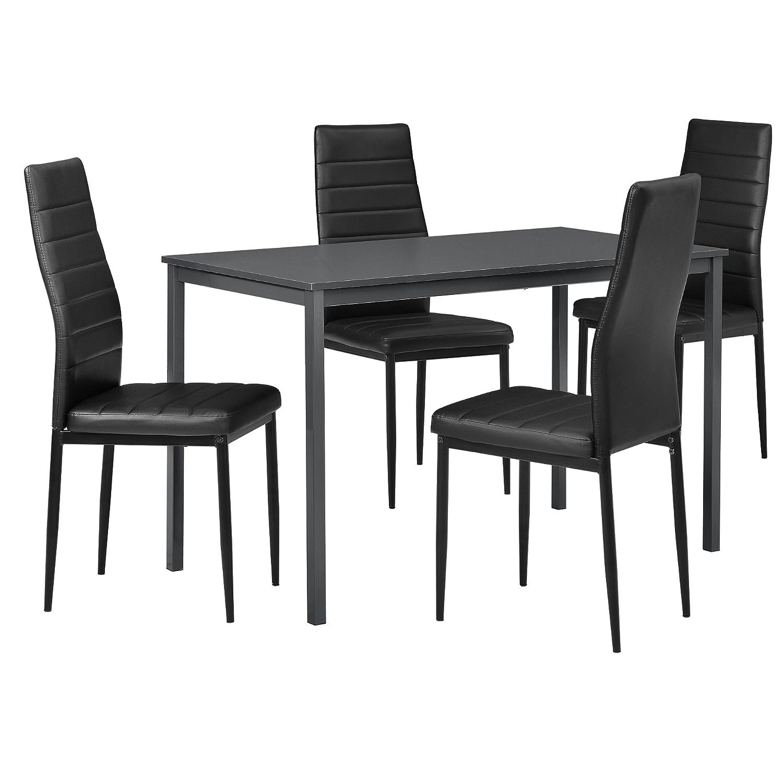 [en.CASA] - Table à Manger Design avec des chaises élégantes (Gris foncé) - Table 120 cm x 60 cm