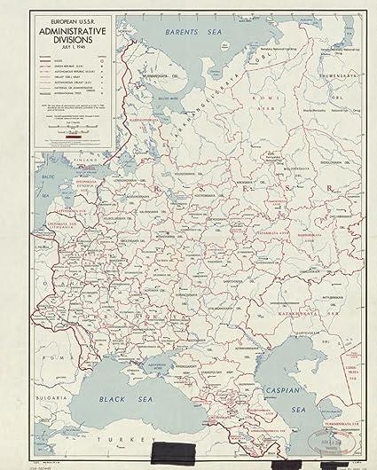 Amazon.com: Vintage 1946 Map of European U.S.S.R. administrative ...