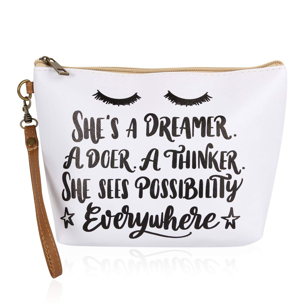 Multifunction Cute Print Travel Cosmetic Pouch Bag - Bridesmaid Gift Makeup Organizer Toiletry Wristlet Purse Inspirational Quote/Skull/Pineapple (Dreamer)