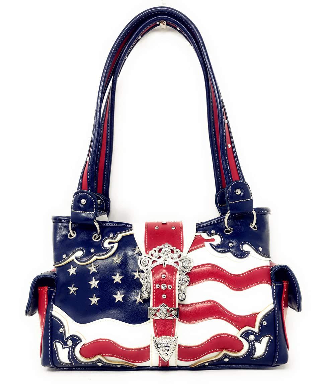 Western Concealed Carry Rhinestone American Flag Women's Handbag purse. (American Blue)