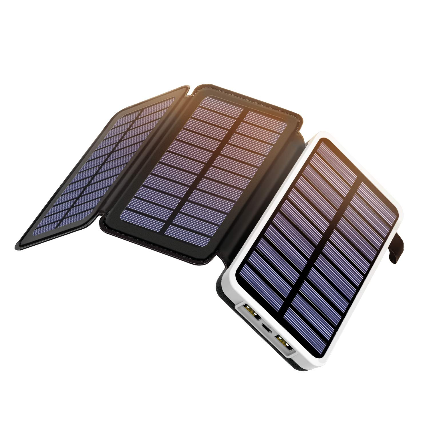 Outeasy 10000mAh Solar Charger with 3 Solar Panel Portable Solar Power Bank for Smartphones Tablets