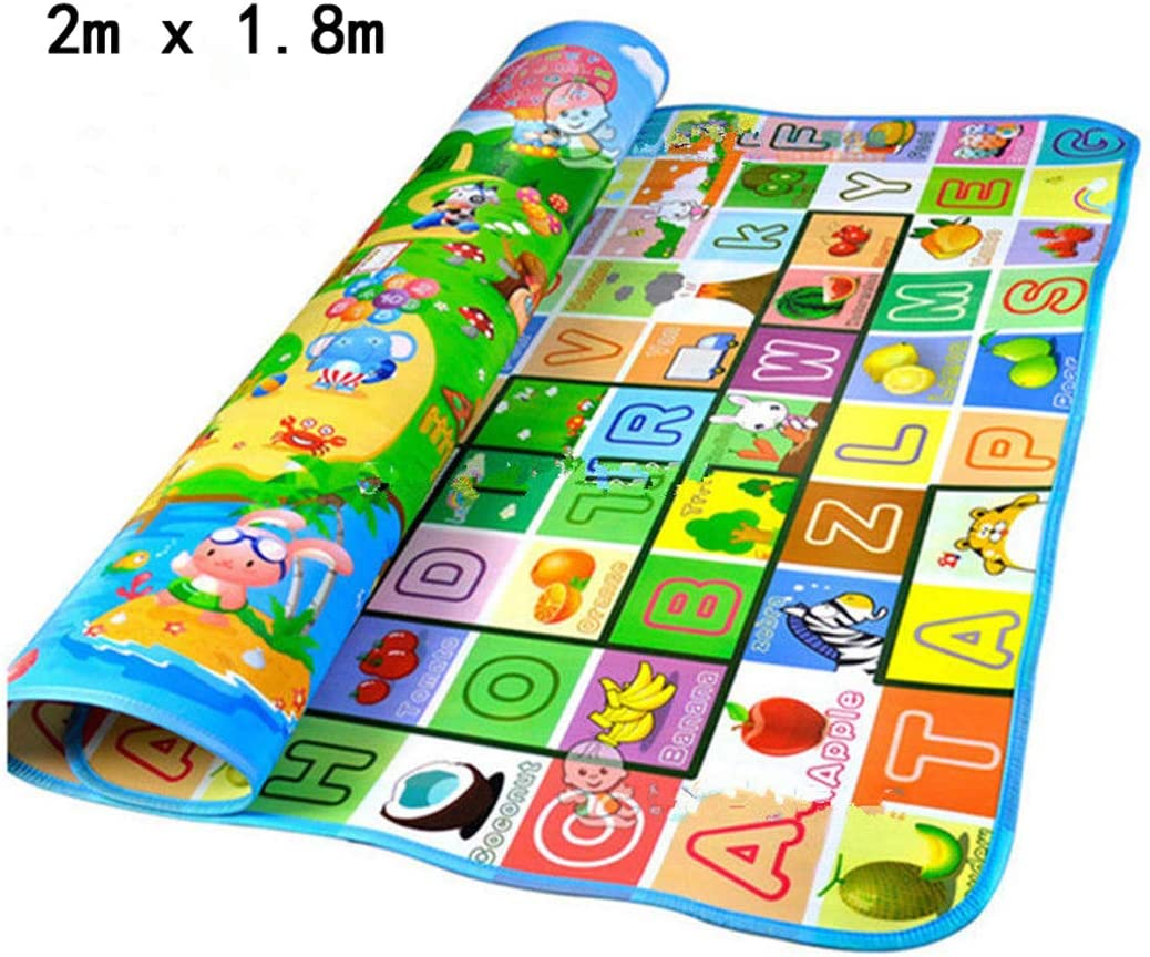 Crawling Mat for Baby Animals Letter Alphabet Foldable Double Face Waterproof Toddler Play Picnic Carpet 71 x 47 inches, One Size