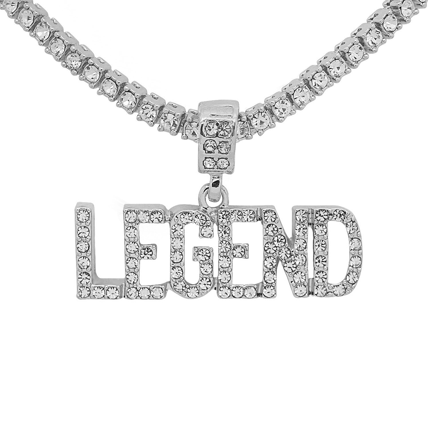 White Gold-Tone Hip Hop Bling Simulated CrystalLegend Letter Pendant with 24 Tennis Chain and 24 Rope Chain