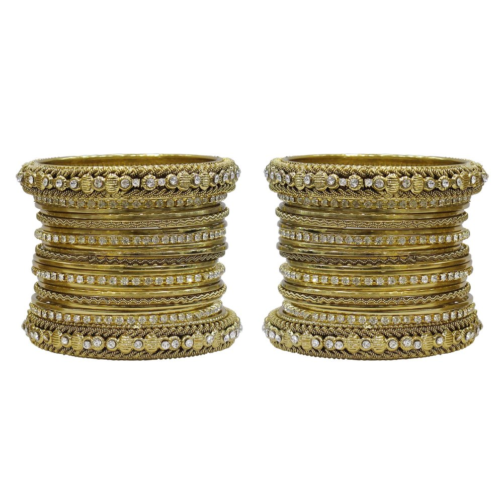 MuchMore Fantastic Traditional Indian Bollywood Style Antique Gold Plated Polki Bangle Jewelry MB-79