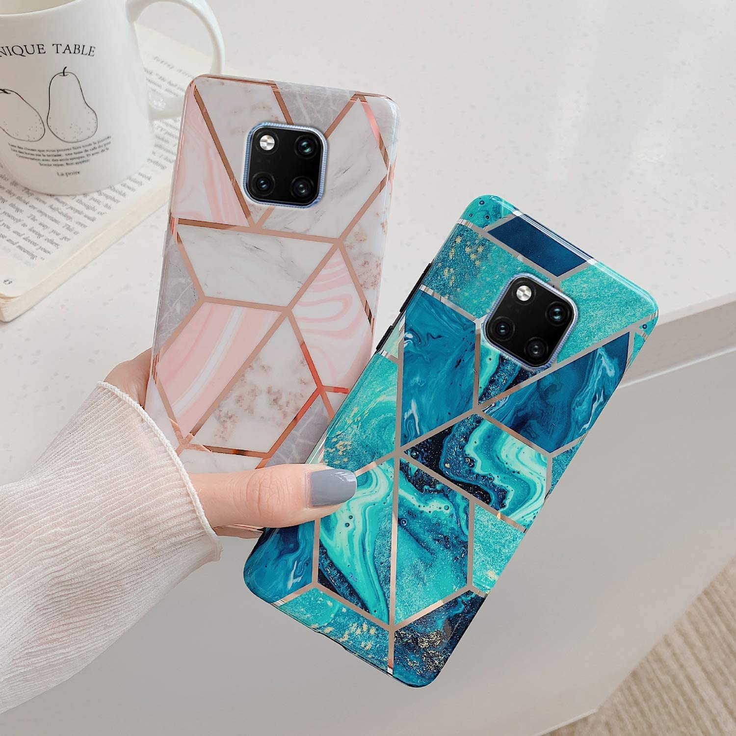 Herbests Compatible with Huawei Mate 20 Pro Marble Case Designed Girls Women Glitter Case Ultra-Thin Shock Absorption Slim Case Soft Silicone Cover Protective Bumper,Green