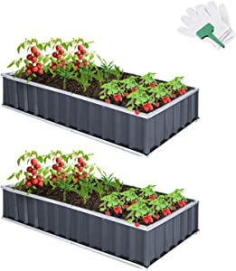 CEED4U 2 Packs 5.7 x 3 x 1 Feet Dark Grey Galvanized Raised Garden Bed Planter with 1 Pair of Gloves, 30 Pcs Plant Labels, Metal DIY Elevated Planter Box for Vegetables, Fruits, Herbs, Flowers, Plants