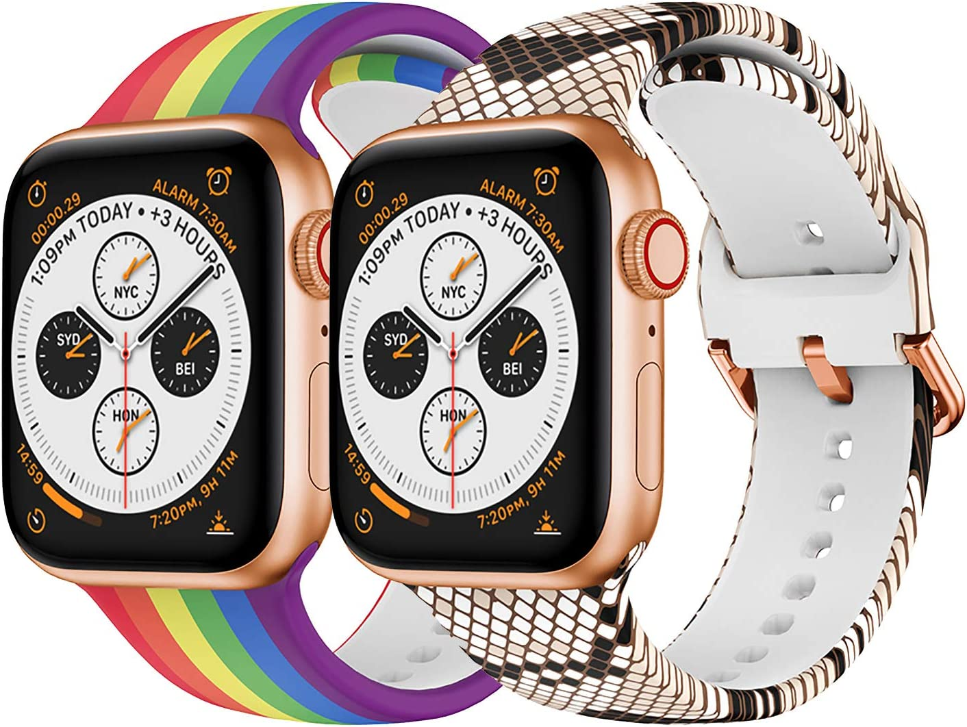 Magwei Sport Band Compatible with Apple Watch 38mm 40mm 42mm 44mm,Soft Silicone Fadeless Pattern Printed Replacement Band Compatible for Apple Watch Series 6/5/4/3/2/1(Rainbow+Snakeskin, 42mm/44mm)
