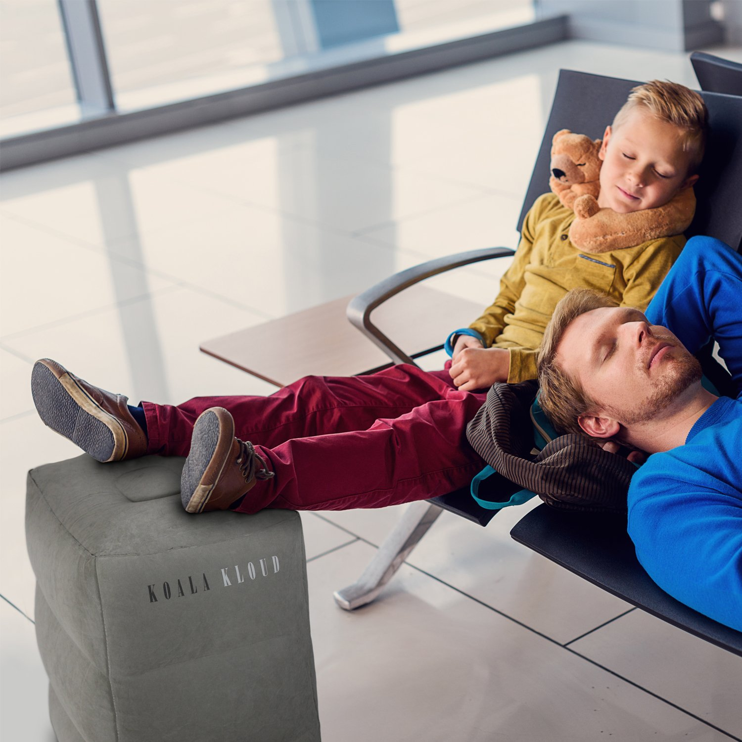 Inflatable Foot Rest Travel Pillow - For Toddlers & Kids, Best Accessory and Gadget for Traveling By Airplane or Car, Use As A Footrest Stool Under Office Desk, Fly With Your Legs Up - By Koala Kloud by Koala Kloud (Image #9)