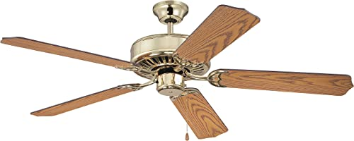 Craftmade K11137 Pro Builder 52 Ceiling Fan with Pull Chain, 5 Blades, Polished Brass