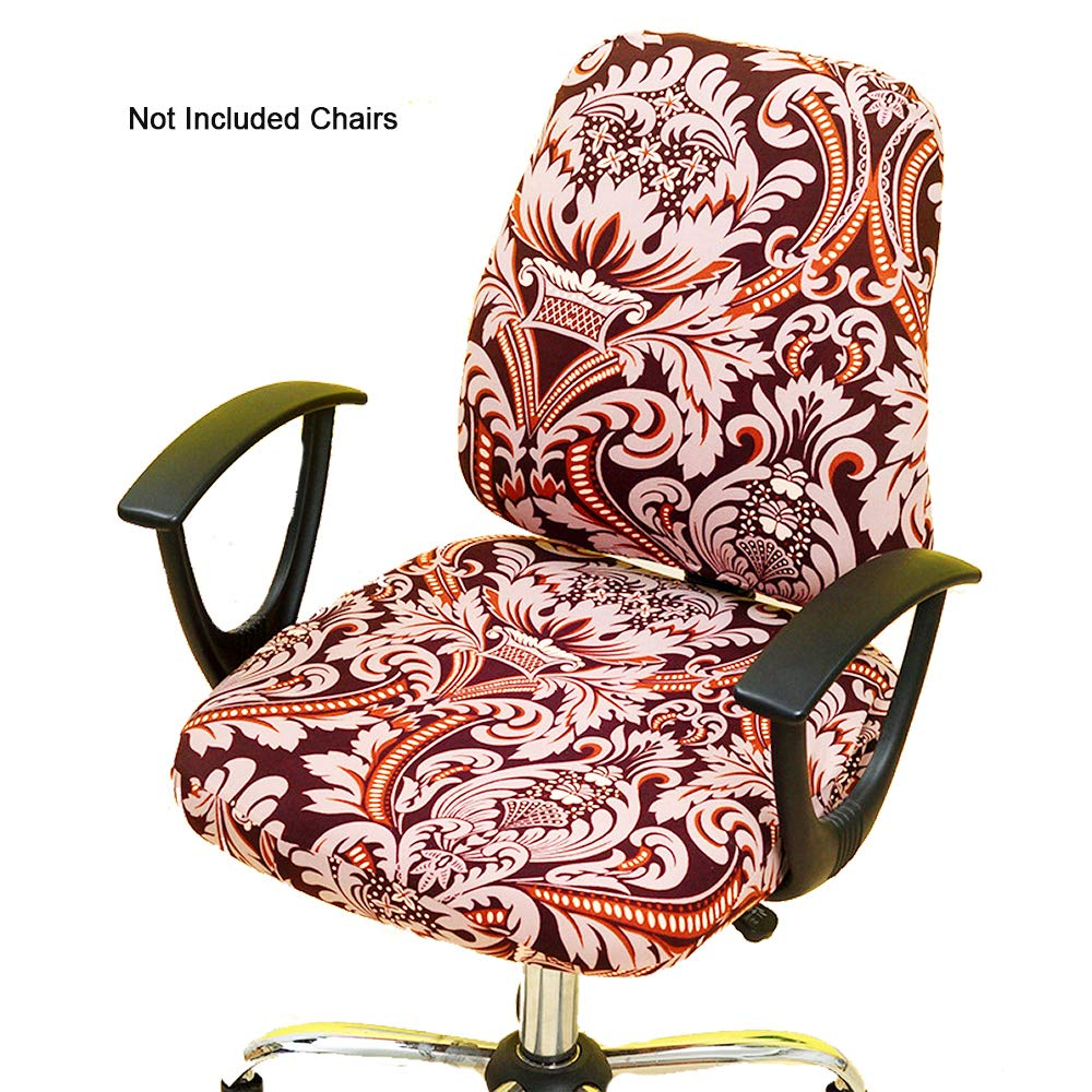 Astonishing Gikidea Removable Office Chair Cover With Floral Pattern Elasticized Dorm Computer Rotating Chair Slipcover Washable Seat And Back Cover Wine Floral Cjindustries Chair Design For Home Cjindustriesco