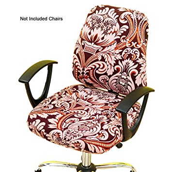 Outstanding Gikidea Removable Office Chair Cover With Floral Pattern Elasticized Dorm Computer Rotating Chair Slipcover Washable Seat And Back Cover Wine Floral Inzonedesignstudio Interior Chair Design Inzonedesignstudiocom
